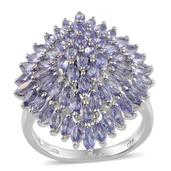 Tanzanite Platinum Over Sterling Silver Ring (Size 10.0) TGW 4.75 cts.