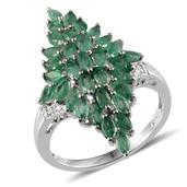 Kagem Zambian Emerald, Diamond Platinum Over Sterling Silver Ring (Size 8.0), TDiaWt 0.02 cts, TGW 3.004 cts.