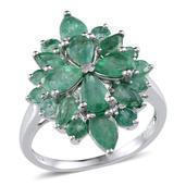 Kagem Zambian Emerald Platinum Over Sterling Silver Ring (Size 7.0) TGW 3.90 cts.