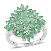 Kagem Zambian Emerald, Diamond Platinum Over Sterling Silver Ring (Size 9.0) TDiaWt 0.01 cts, TGW 3.590 cts.