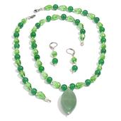 Green Quartzite, Glass Earrings, Bracelet (7.5 in) and Necklace (20 in) in Silvertone With Stainless Steel Lobster Lock & Lever Back with Green Aventurine Pendant TGW 198.800 cts.