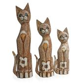 Decorative Wooden Carved Cats Set of 3
