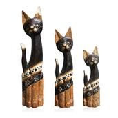 Hain Painted Wooden Set of 3 Cats with Floral Design