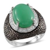 Australian Chrysoprase, Green Diamond, Diamond Platinum Over Sterling Silver Ring (Size 8.0) TDiaWt 0.06 cts, TGW 12.56 cts.