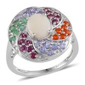 Australian White Opal (Ovl 0.70 Ct), Kagem Zambian Emerald, Jalisco Fire Opal, Tanzanite, Orissa Rhodolite Garnet Ring in Platinum Overlay Sterling Silver Nickel Free (Size 7) TGW 2.14 Cts.