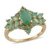 Kagem Zambian Emerald 14K YG Over Sterling Silver Ring (Size 10.0) TGW 3.250 cts.
