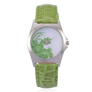 STRADA Japanese Movement Watch with Green Band and Stainless Steel Back