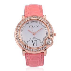 STRADA White Austrian Crystal Japanese Movement Watch in Rosetone with Pink Leather Straps TGW 0.001 cts.