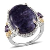 Sierra Madre Purple Opal (Ovl 15.25 Ct), Amethyst, Diamond Ring in 14K YG and Platinum Overlay Sterling Silver Nickel Free (Size 9.0) TDiaWt 0.030Cts., TGW 15.75 Cts.