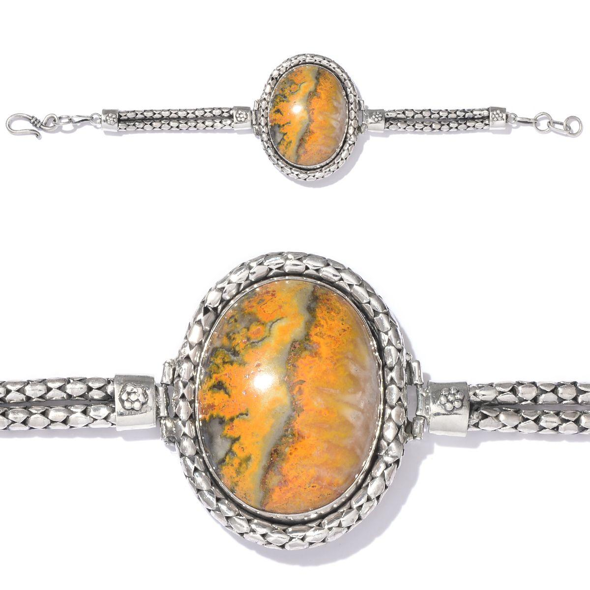 Artisan Crafted Bumble Bee Jasper Sterling Silver Bracelet (7.50 In) TGW 80.000 cts.