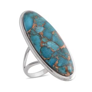Santa Fe Style Mojave Blue Turquoise Sterling Silver Elongated Split Ring (Size 7.0) TGW 34.99 cts.