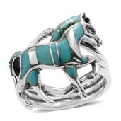 Santa Fe Style Turquoise Sterling Silver Walking Horse Ring (Size 7.0) TGW 7.250 cts.