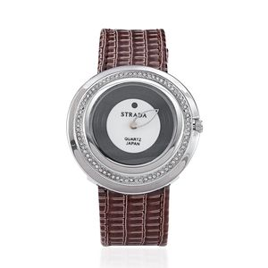 STRADA Austrian Crystal Curved Face Japanese Movement Watch with Brown Band and Stainless Steel Back