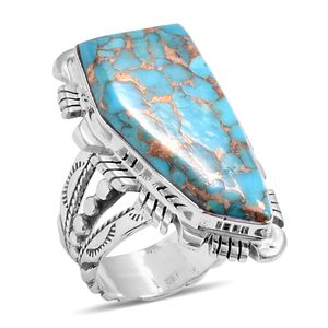 Santa Fe Style Mojave Blue Turquoise Sterling Silver Elongated Ring (Size 10.0) TGW 8.60 cts.
