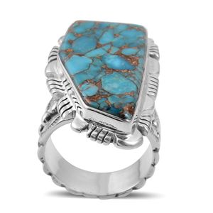 Santa Fe Style Mojave Blue Turquoise Sterling Silver Elongated Ring (Size 8.0) TGW 8.60 cts.