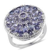 Tanzanite, Diamond Platinum Over Sterling Silver Ring (Size 7.0) TDiaWt 0.01 cts, TGW 5.500 cts.