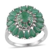 Kagem Zambian Emerald, Diamond Platinum Over Sterling Silver Ring (Size 7.0) TDiaWt 0.02 cts, TGW 5.100 cts.