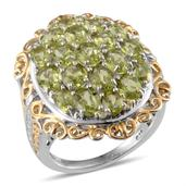 Hebei Peridot, Diamond 14K YG and Platinum Over Sterling Silver Filigree Ring (Size 5.0) , TDiaWt 0.02 cts, TGW 6.220 cts.
