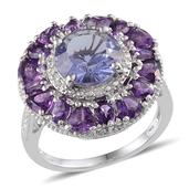 Purple Helenite, Amethyst, Diamond Platinum Over Sterling Silver Ring (Size 7) TDiaWt 0.02 cts, TGW 5.820 cts.