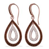 Brown and White Austrian Crystal 14K RG Over Sterling Silver Earrings