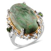 Utah Variscite, Russian Diopside 14K YG and Platinum Over Sterling Silver Ring (Size 7.0) TGW 18.950 cts.