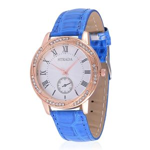 STRADA Austrian Crystal Japanese Movement Watch with Blue Band and Stainless Steel Back