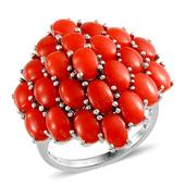 Mediterranean Coral Platinum Over Sterling Silver Enlarged Cluster Ring (Size 8.0) TGW 10.600 cts.