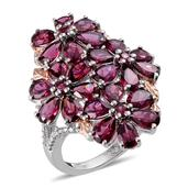 Orissa Rhodolite Garnet, Diamond 14K RG and Platinum Over Sterling Silver Floral Ring (Size 7.0) TDiaWt 0.01 cts, TGW 12.690 cts.