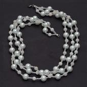 Glass Pearl, White Quartzite, Glass Necklace (20 in) in Silvertone with Stainless Steel Lobster Lock TGW 282.450 cts.