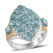 Madagascar Paraiba Apatite, Diamond 14K YG and Platinum Over Sterling Silver Ring (Size 6.0) TDiaWt 0.01 cts, TGW 5.732 cts.