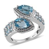 Swiss Blue Topaz Platinum Over Sterling Silver Ring (Size 8.0) TGW 3.750 cts.