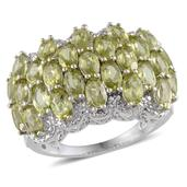 Hebei Peridot, Diamond Platinum Over Sterling Silver Ring (Size 7.0) TDiaWt 0.01 cts, TGW 6.760 cts.