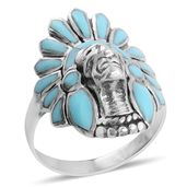 Santa Fe Style Kingman Turquoise Sterling Silver Native American Ring (Size 7.5) TGW 3.00 cts.