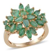 Kagem Zambian Emerald 14K YG Over Sterling Silver Ring (Size 7.0) TGW 3.704 cts.