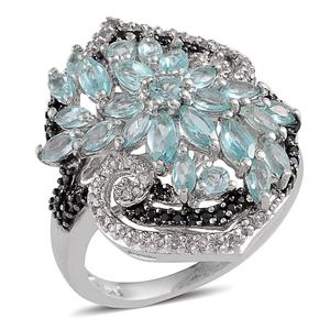 Madagascar Paraiba Apatite, White Topaz, Thai Black Spinel Platinum Over Sterling Silver Ring (Size 7.0) TGW 3.39 cts.