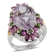 Rose De France Amethyst, Orissa Rhodolite Garnet, Russian Diopside, Diamond 14K YG and Platinum Over Sterling Silver Ring (Size 5.0) TDiaWt 0.02 cts, TGW 16.150 cts.