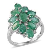 Kagem Zambian Emerald, Diamond Platinum Over Sterling Silver Ring (Size 8.0) TDiaWt 0.01 cts, TGW 5.800 cts.