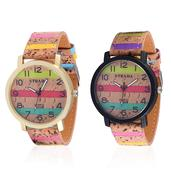 STRADA Japanese Movement Set of 2 Watches with Multi Color Striped Band and Stainless Steel Back