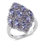 Tanzanite Platinum Over Sterling Silver Elongated Ring (Size 6.0) TGW 4.52 cts.
