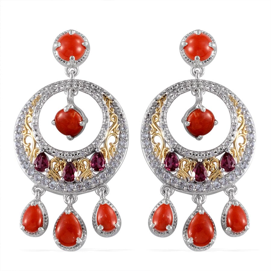 Mediterranean Coral, White Topaz, Orissa Rhodolite Garnet 14K YG and Platinum Over Sterling Silver Earrings TGW 8.15 Cts.