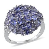 Tanzanite Platinum Over Sterling Silver Cluster Ring (Size 5.0) TGW 4.33 cts.