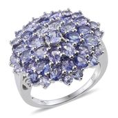 Tanzanite Platinum Over Sterling Silver Cluster Ring (Size 7.0) TGW 6.51 cts.
