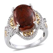 Red Lace Agate (Ovl 9.25 Ct), White Topaz Ring in 14K YG and Platinum Overlay Sterling Silver Nickel Free (Size 9) TGW 9.67 Cts.