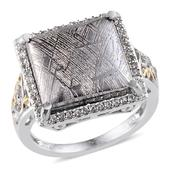 Marvelous Meteorites, White Topaz Platinum Over Sterling Silver Ring (Size 7.0) TGW 20.650 cts.