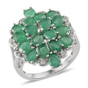 Kagem Zambian Emerald, White Topaz Platinum Over Sterling Silver Ring (Size 9.0) TGW 4.920 cts.
