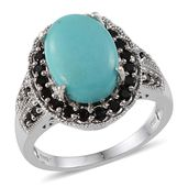 Sonoran Blue Turquoise, Thai Black Spinel Platinum Over Sterling Silver Ring (Size 8.0) TGW 5.380 cts.