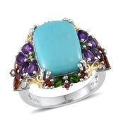 Sonoran Blue Turquoise, Multi Gemstone 14K YG and Platinum Over Sterling Silver Ring (Size 7.0) TGW 10.93 cts.