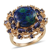 Aurora Azurite, Catalina Iolite 14K YG Over Sterling Silver Ring (Size 7.0) TGW 12.400 cts.