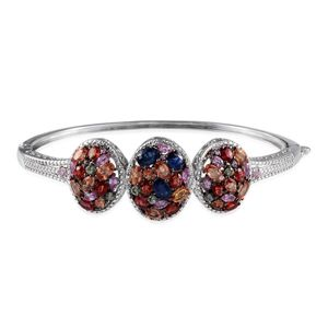 Multi Sapphire, Diamond Platinum Over Sterling Silver Bangle (7.5 in) TDiaWt 0.03 cts, TGW 10.360 cts.