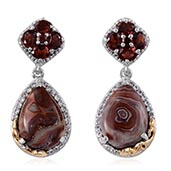 Red Lace Agate, Mozambique Garnet, White Topaz 14K YG and Platinum Over Sterling Silver Earrings TGW 13.100 cts.